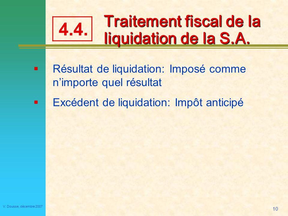 10 V.Dousse, décembre 2007 Traitement fiscal de la liquidation de la S.A.