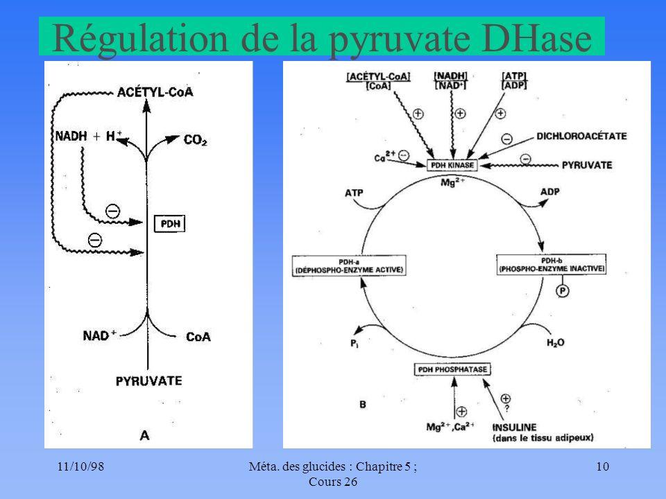 11/10/9810Méta. des glucides : Chapitre 5 ; Cours 26 Régulation de la pyruvate DHase