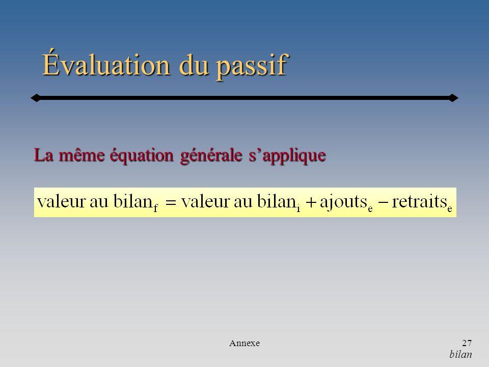 Annexe27 Évaluation du passif La même équation générale sapplique bilan