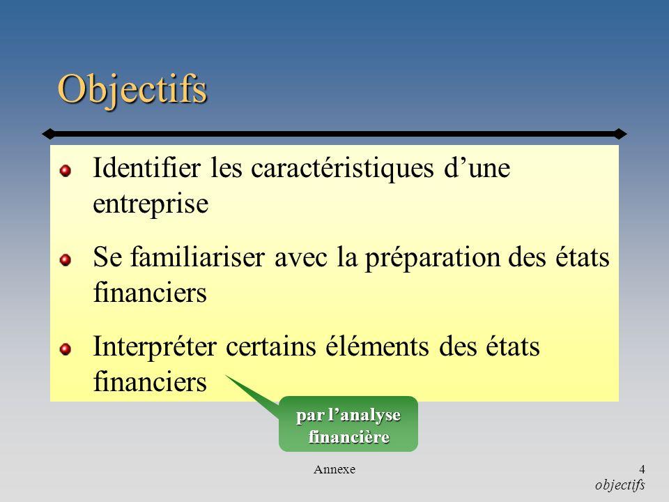 Annexe4 Objectifs Identifier les caractéristiques dune entreprise Se familiariser avec la préparation des états financiers Interpréter certains élémen