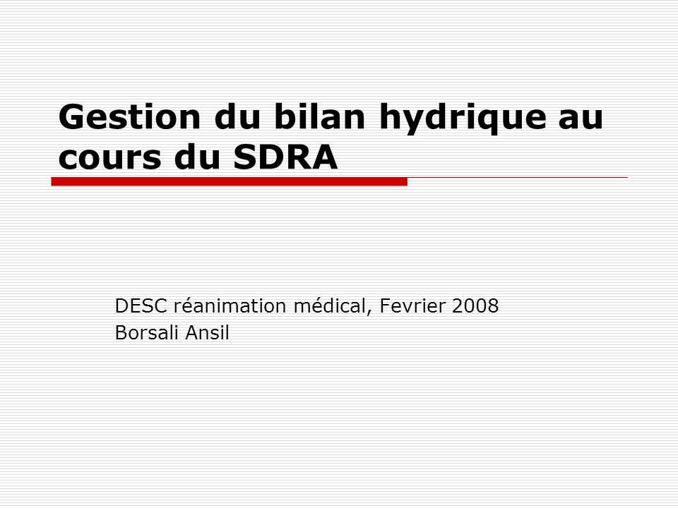 - Critères dinclusion: atteinte pulmonaire bilatérale et nécessité dune intubation et VM avec une PEEP et PaO2 / FIO2 < 300 mmHg - Critère de jugement principal : mortalité à J60 - Critères de jugement secondaires : Calcul du nombre dejours sans VM, sans dysfonction dorgane et surveillance des paramètres pulmonaires