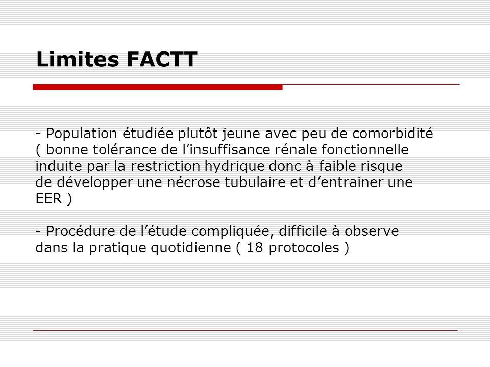 Limites FACTT - Population étudiée plutôt jeune avec peu de comorbidité ( bonne tolérance de linsuffisance rénale fonctionnelle induite par la restric