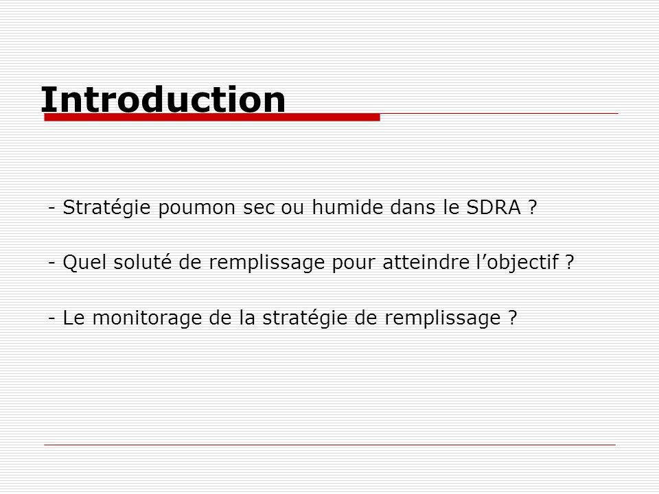 Introduction - Stratégie poumon sec ou humide dans le SDRA ? - Quel soluté de remplissage pour atteindre lobjectif ? - Le monitorage de la stratégie d