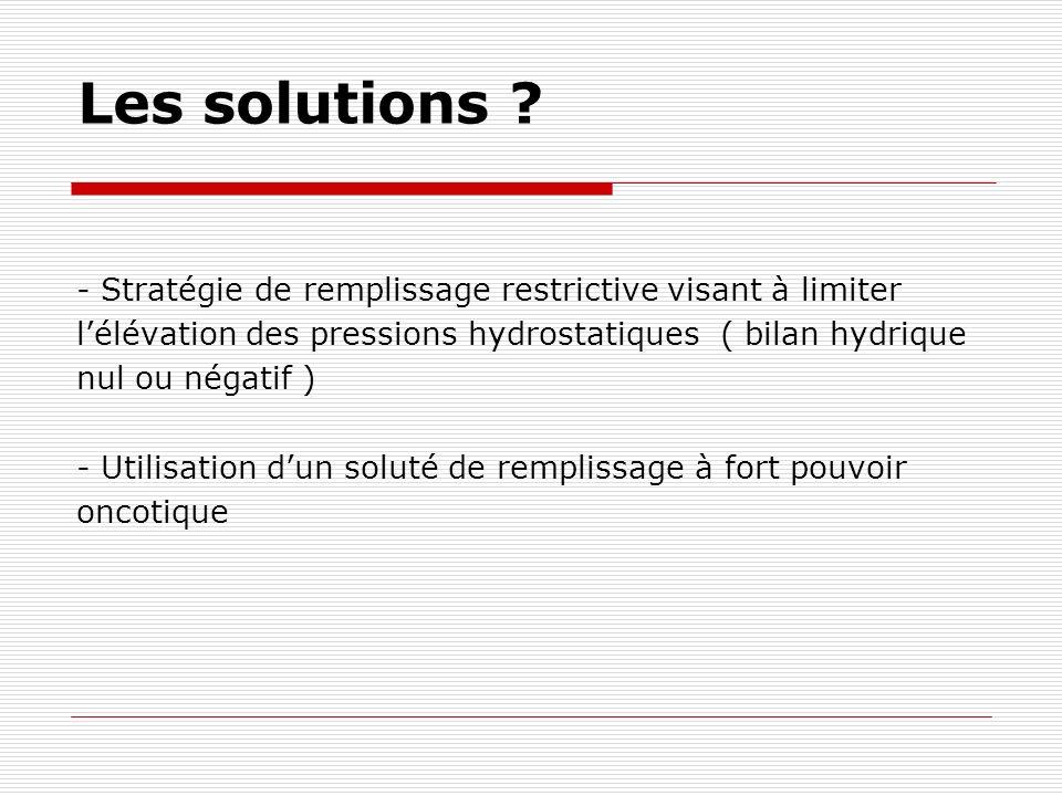 Les solutions ? - Stratégie de remplissage restrictive visant à limiter lélévation des pressions hydrostatiques ( bilan hydrique nul ou négatif ) - Ut