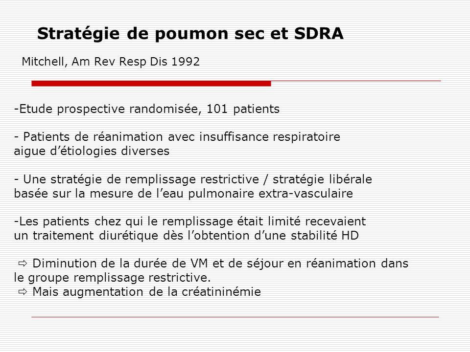 Stratégie de poumon sec et SDRA Mitchell, Am Rev Resp Dis 1992 -Etude prospective randomisée, 101 patients - Patients de réanimation avec insuffisance
