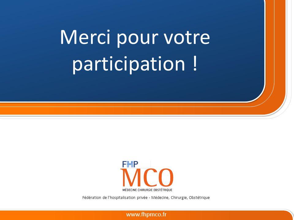 Cliquez et modifiez le titre www.fhpmco.fr Fédération de lhospitalisation privée - Médecine, Chirurgie, Obstétrique Merci pour votre participation !