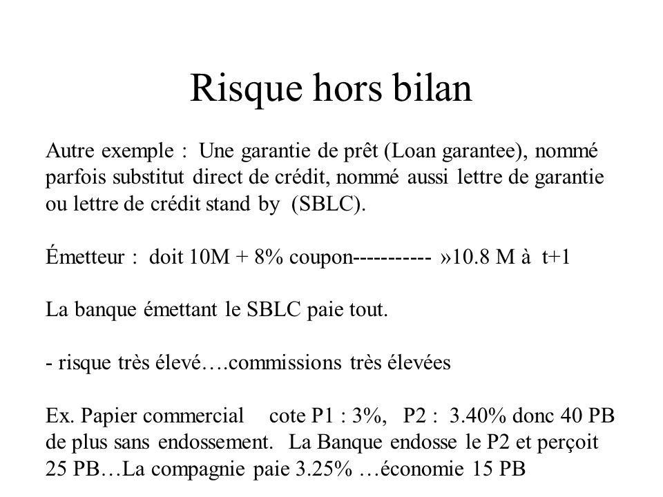 Risque hors bilan Autre exemple : Une garantie de prêt (Loan garantee), nommé parfois substitut direct de crédit, nommé aussi lettre de garantie ou le