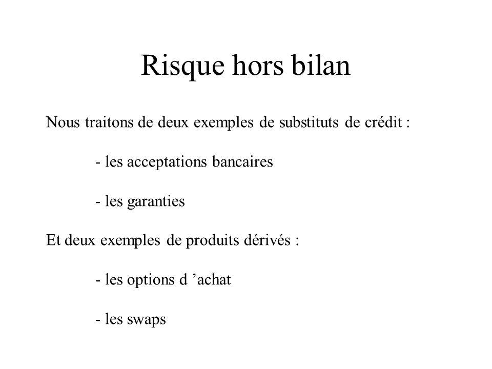 Risque hors bilan Nous traitons de deux exemples de substituts de crédit : - les acceptations bancaires - les garanties Et deux exemples de produits d