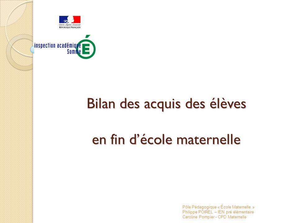 Première partie : évaluation et bilan des acquis Le principe dun bilan des acquisitions des élèves en fin décole maternelle est fixé par la circulaire 2008-155 du 24/11/2008 définissant le livret scolaire.
