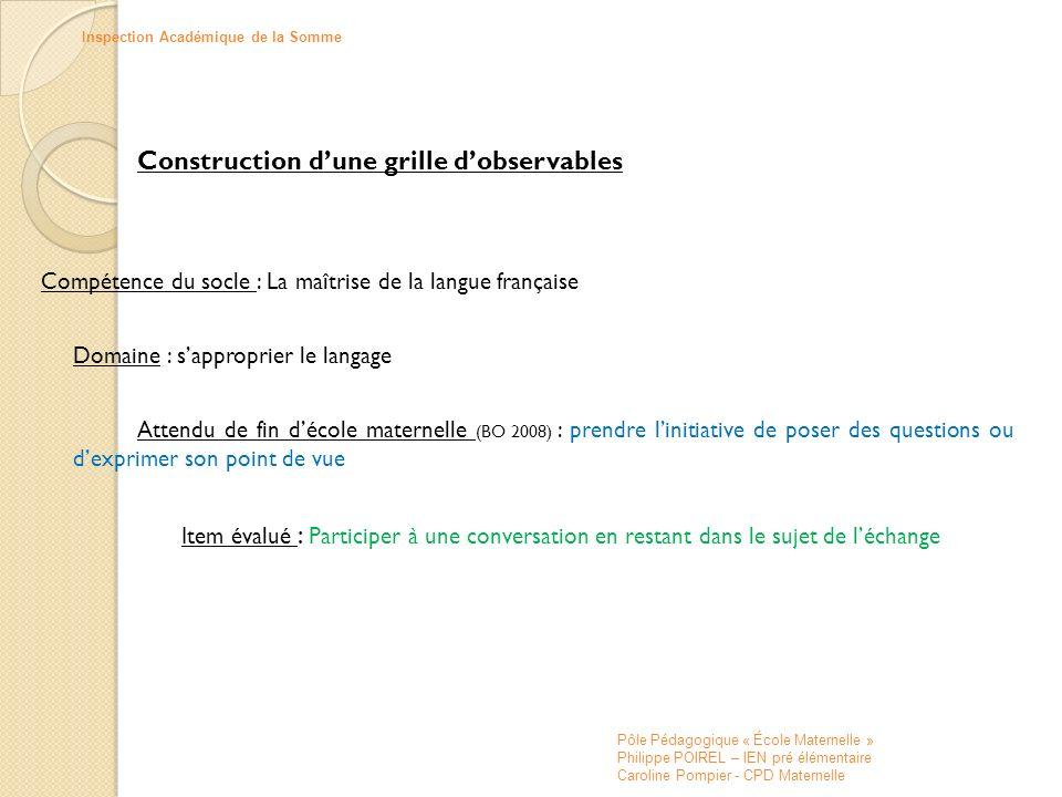 Construction dune grille dobservables Compétence du socle : La maîtrise de la langue française Domaine : sapproprier le langage Attendu de fin décole