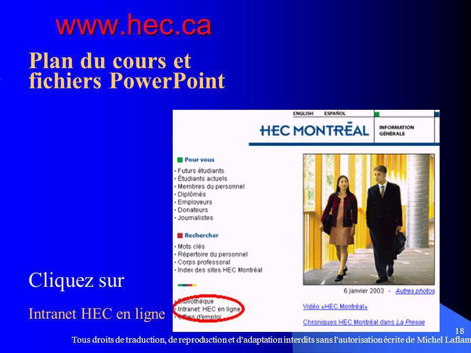 Tous droits de traduction, de reproduction et d adaptation interdits sans l autorisation écrite de Michel Laflamme 18 www.hec.ca Plan du cours et fichiers PowerPoint Cliquez sur Intranet HEC en ligne