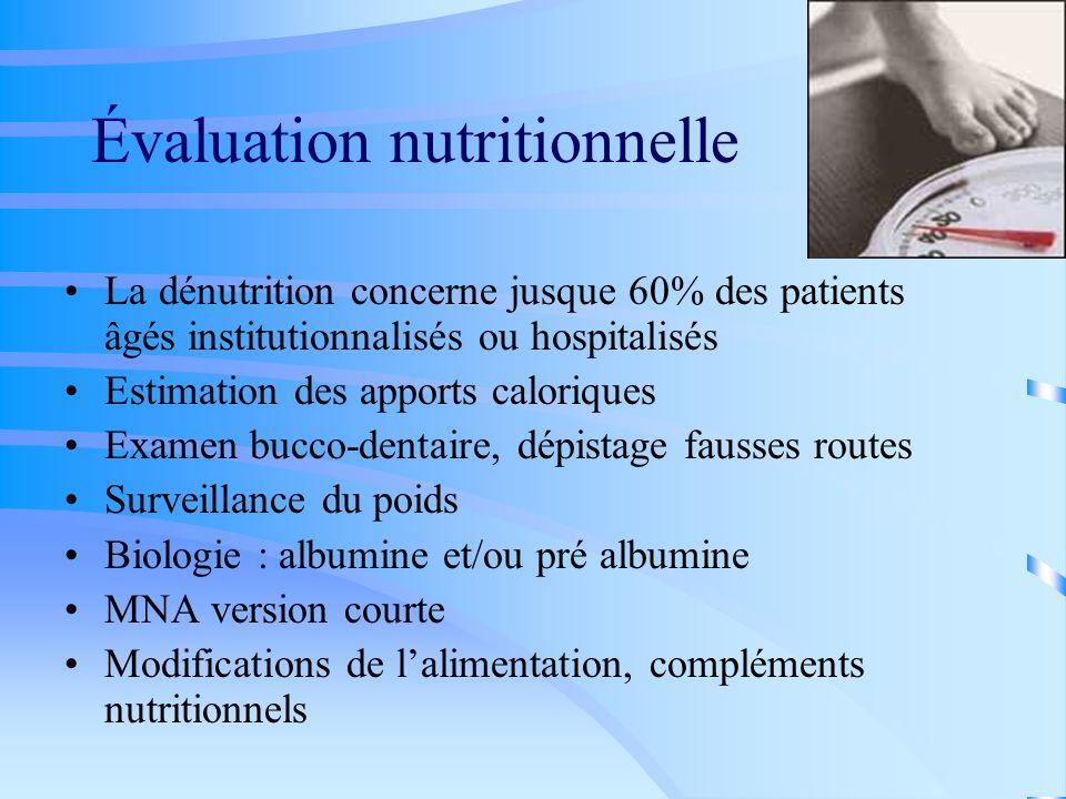 Évaluation nutritionnelle La dénutrition concerne jusque 60% des patients âgés institutionnalisés ou hospitalisés Estimation des apports caloriques Ex