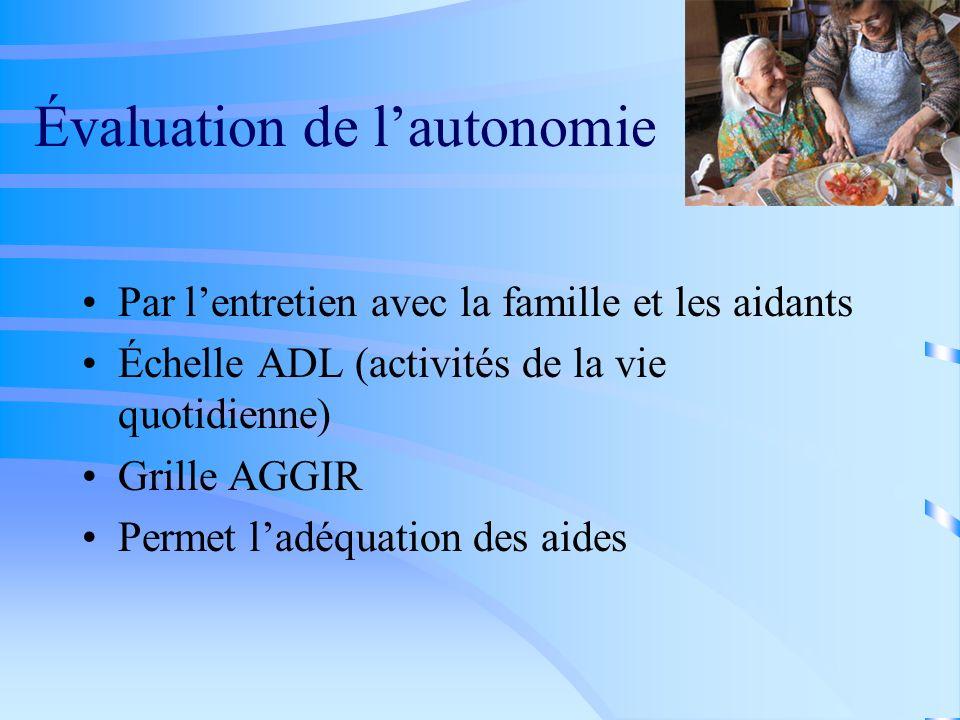 Évaluation de lautonomie Par lentretien avec la famille et les aidants Échelle ADL (activités de la vie quotidienne) Grille AGGIR Permet ladéquation d