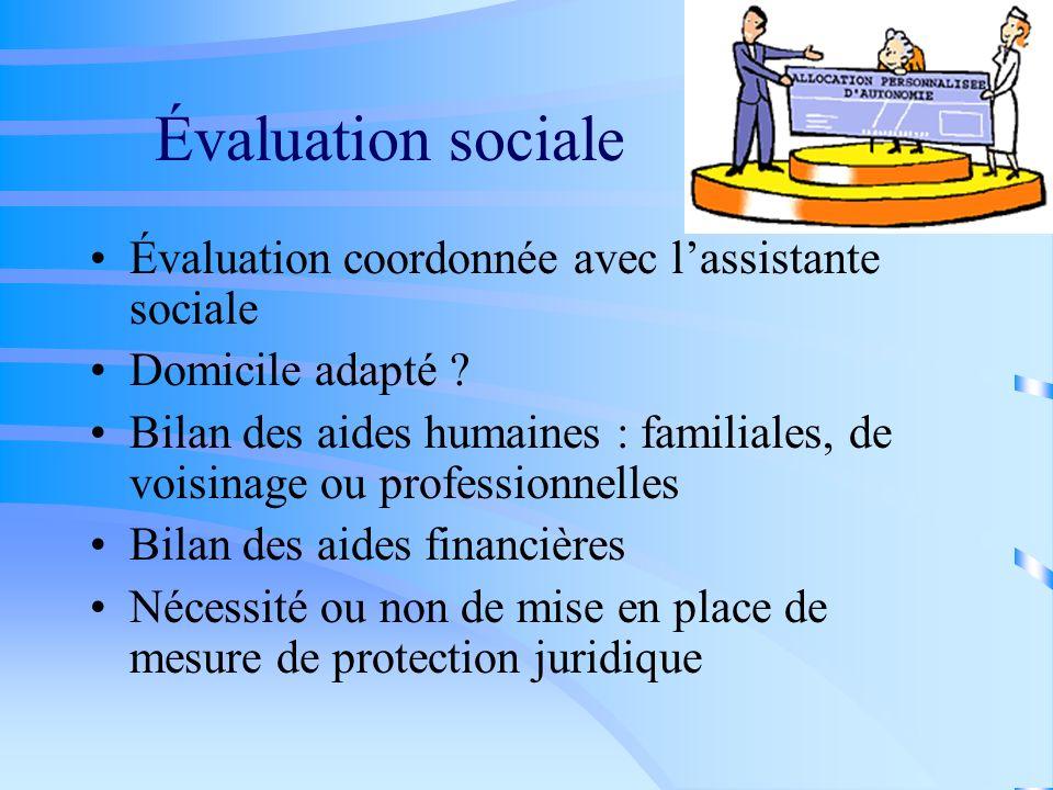 Évaluation sociale Évaluation coordonnée avec lassistante sociale Domicile adapté ? Bilan des aides humaines : familiales, de voisinage ou professionn