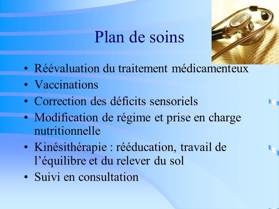 Plan de soins Réévaluation du traitement médicamenteux Vaccinations Correction des déficits sensoriels Modification de régime et prise en charge nutri