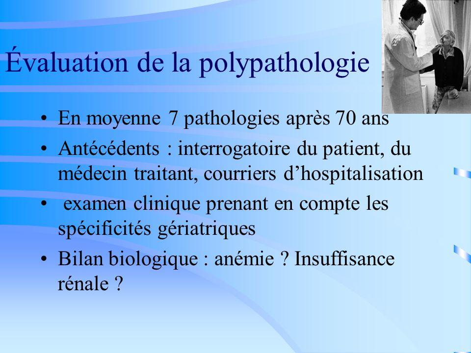 Évaluation de la polypathologie En moyenne 7 pathologies après 70 ans Antécédents : interrogatoire du patient, du médecin traitant, courriers dhospita