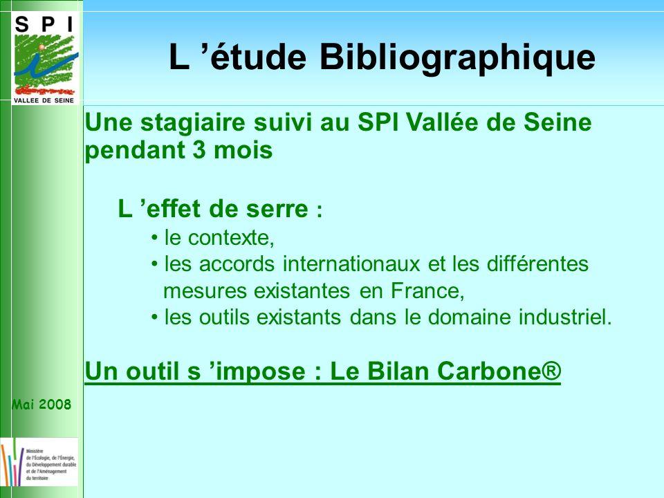 Mai 2008 Une stagiaire suivi au SPI Vallée de Seine pendant 3 mois L effet de serre : le contexte, les accords internationaux et les différentes mesures existantes en France, les outils existants dans le domaine industriel.