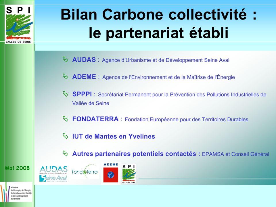 Mai 2008 Bilan Carbone collectivité : le partenariat établi