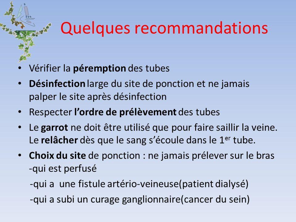 Quelques recommandations Vérifier la péremption des tubes Désinfection large du site de ponction et ne jamais palper le site après désinfection Respec