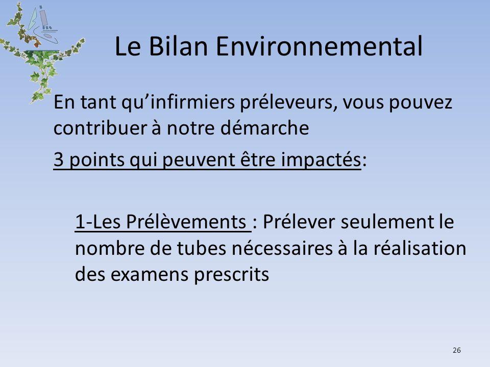Le Bilan Environnemental En tant quinfirmiers préleveurs, vous pouvez contribuer à notre démarche 3 points qui peuvent être impactés: 1-Les Prélèvemen