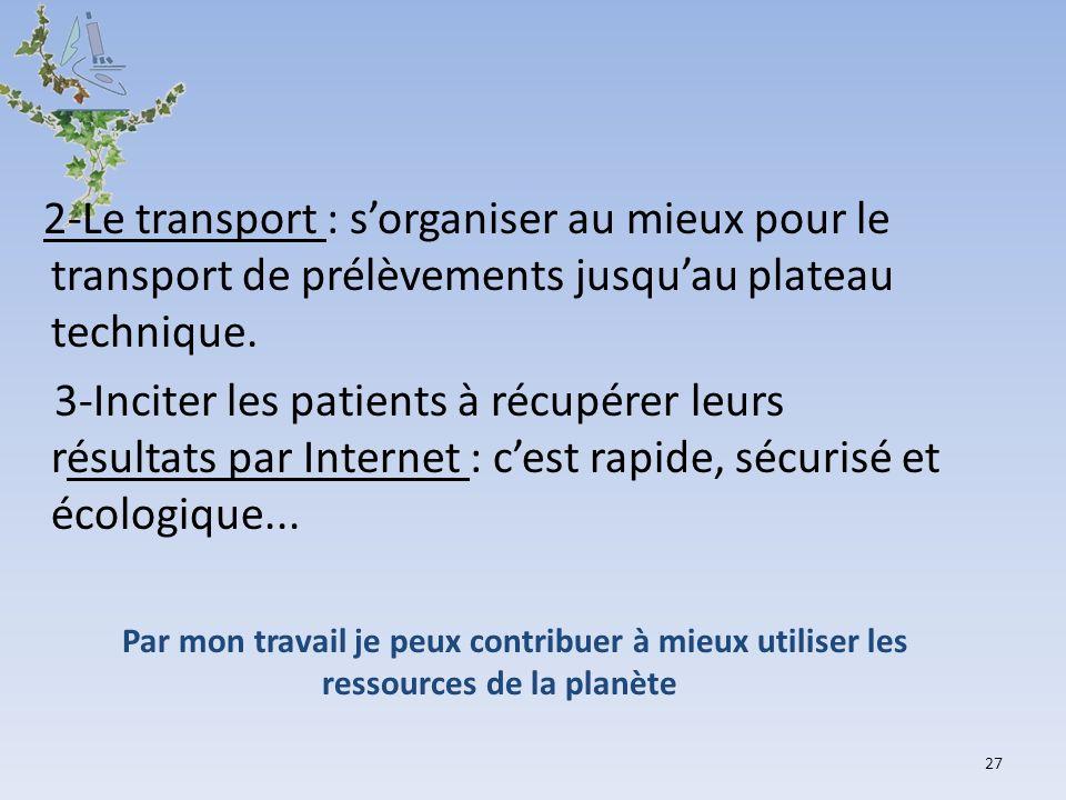 2-Le transport : sorganiser au mieux pour le transport de prélèvements jusquau plateau technique. 3-Inciter les patients à récupérer leurs résultats p