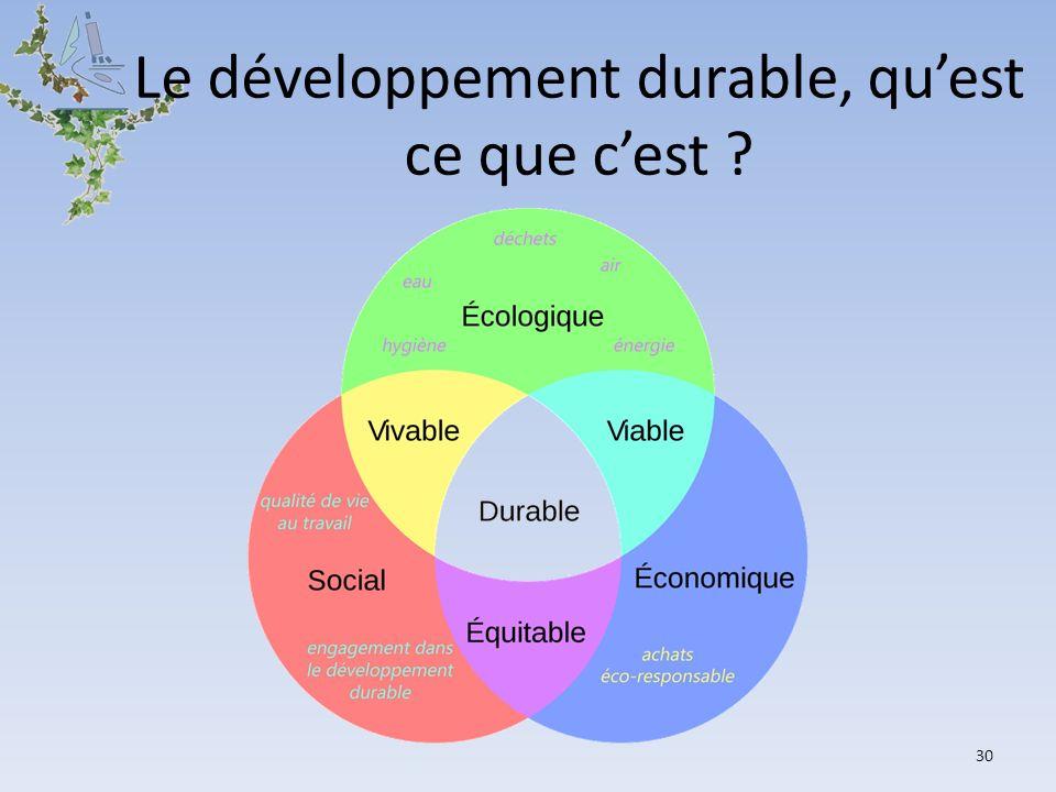 30 Le développement durable, quest ce que cest ?