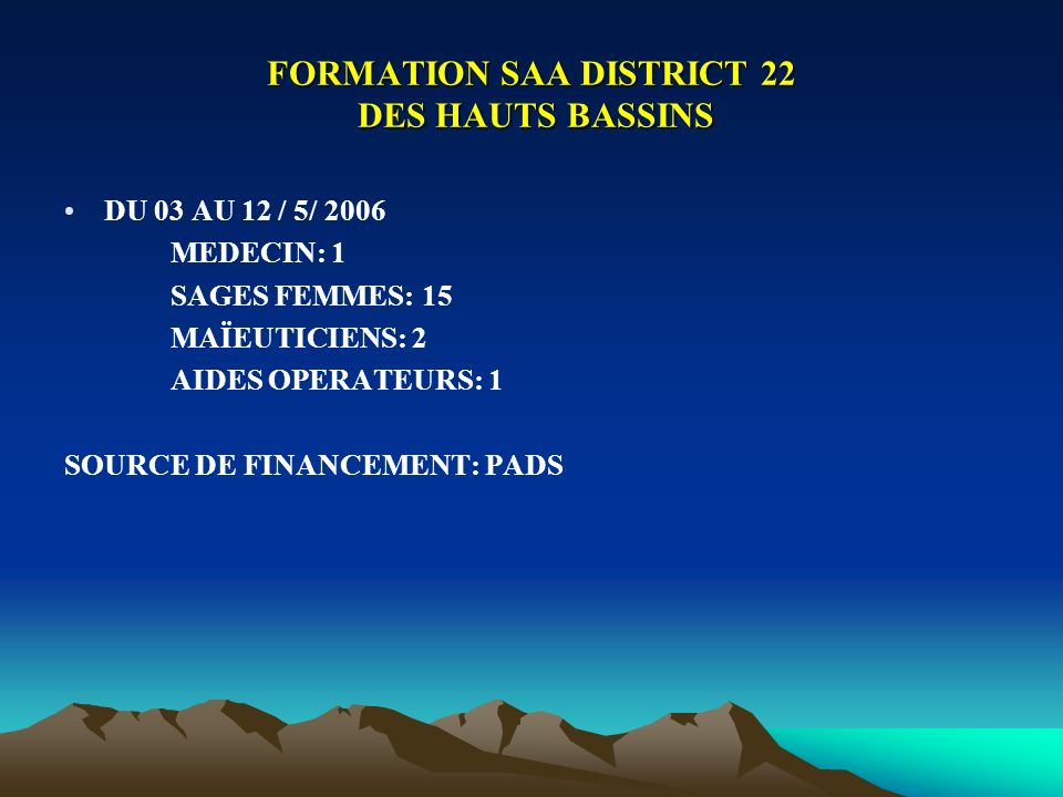 FORMATION SAA DISTRICT 22 DES HAUTS BASSINS DU 03 AU 12 / 5/ 2006 MEDECIN: 1 SAGES FEMMES: 15 MAÏEUTICIENS: 2 AIDES OPERATEURS: 1 SOURCE DE FINANCEMEN