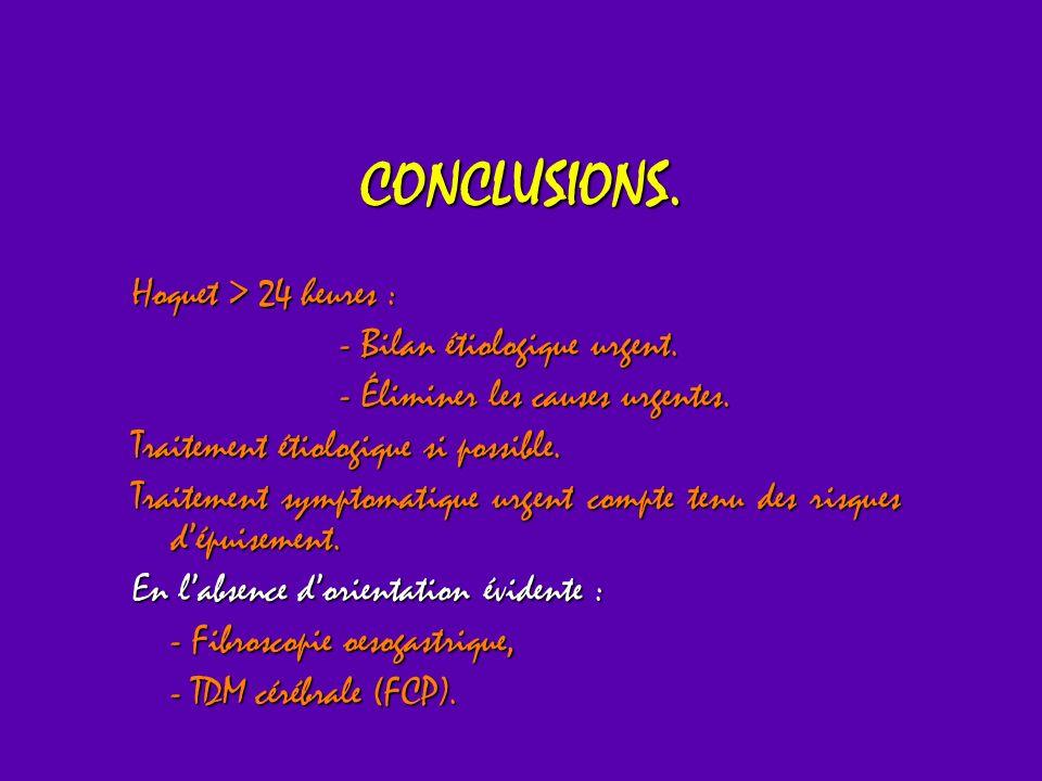 CONCLUSIONS. Hoquet > 24 heures : - Bilan étiologique urgent. - Éliminer les causes urgentes. Traitement étiologique si possible. Traitement symptomat