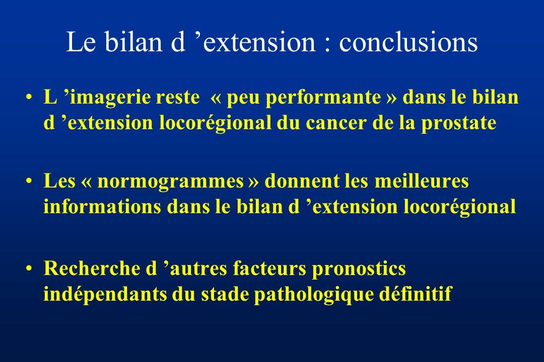 Le bilan d extension : conclusions L imagerie reste « peu performante » dans le bilan d extension locorégional du cancer de la prostate Les « normogrammes » donnent les meilleures informations dans le bilan d extension locorégional Recherche d autres facteurs pronostics indépendants du stade pathologique définitif