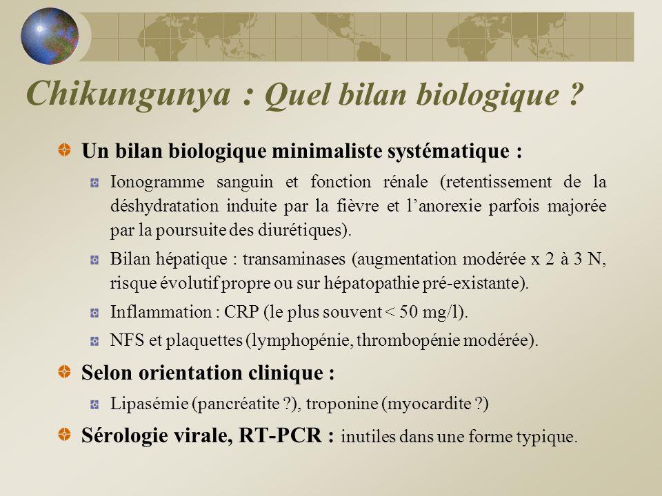 Un bilan biologique minimaliste systématique : Ionogramme sanguin et fonction rénale (retentissement de la déshydratation induite par la fièvre et lan