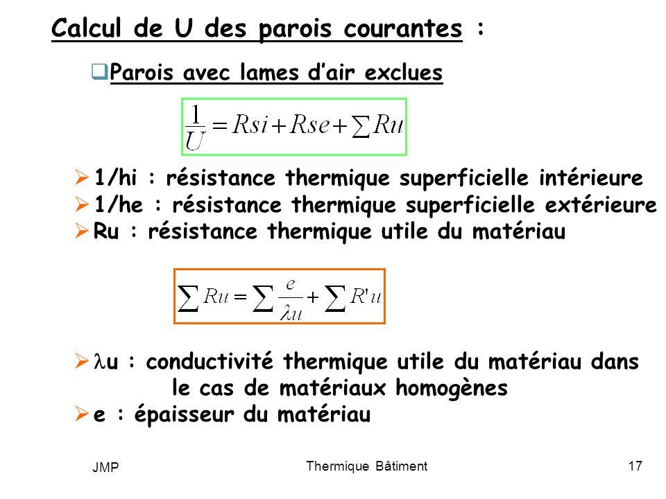JMP Thermique Bâtiment17 Calcul de U des parois courantes : Parois avec lames dair exclues 1/hi : résistance thermique superficielle intérieure 1/he :
