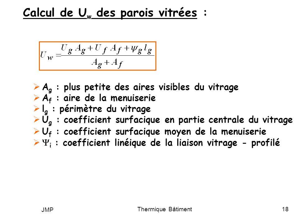 JMP Thermique Bâtiment18 Calcul de U w des parois vitrées : A g : plus petite des aires visibles du vitrage A f : aire de la menuiserie l g : périmètr