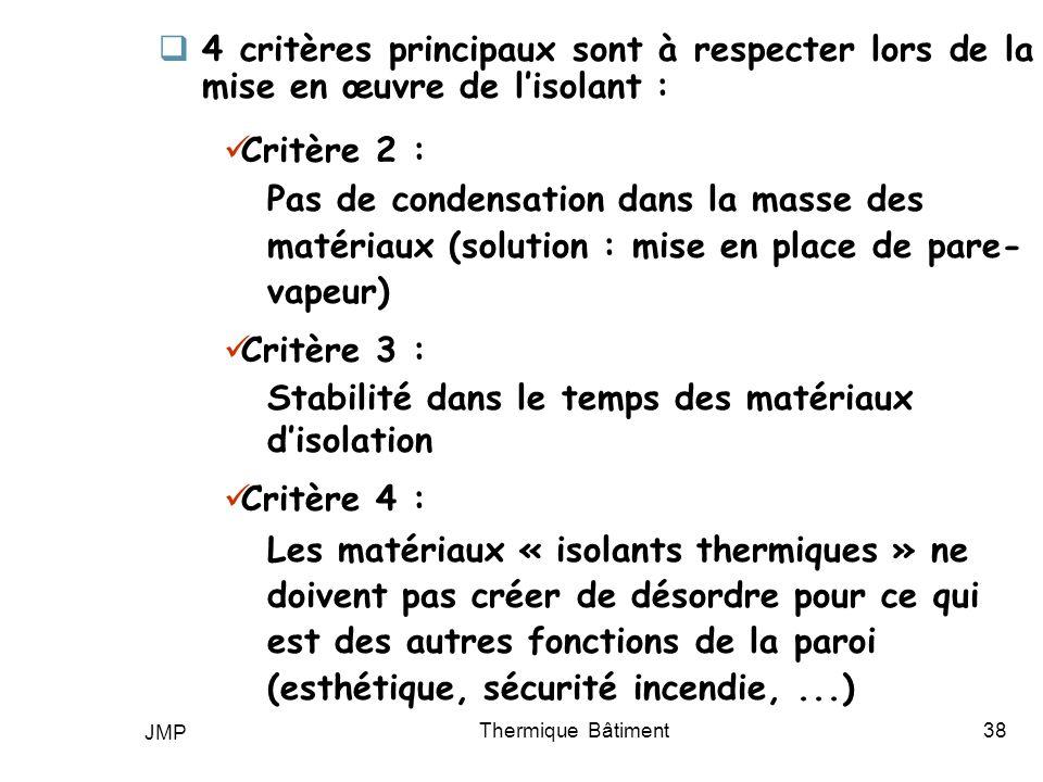 JMP Thermique Bâtiment38 4 critères principaux sont à respecter lors de la mise en œuvre de lisolant : Critère 2 : Pas de condensation dans la masse d