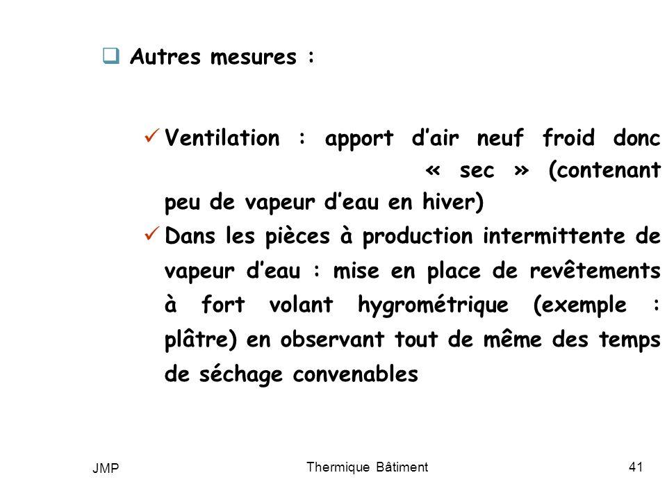 JMP Thermique Bâtiment41 Autres mesures : Ventilation : apport dair neuf froid donc « sec » (contenant peu de vapeur deau en hiver) Dans les pièces à