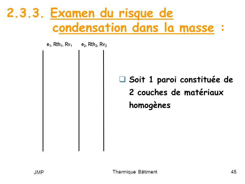 JMP Thermique Bâtiment45 2.3.3. Examen du risque de condensation dans la masse : e 1, Rth 1, Rv 1 e 2, Rth 2, Rv 2 Soit 1 paroi constituée de 2 couche