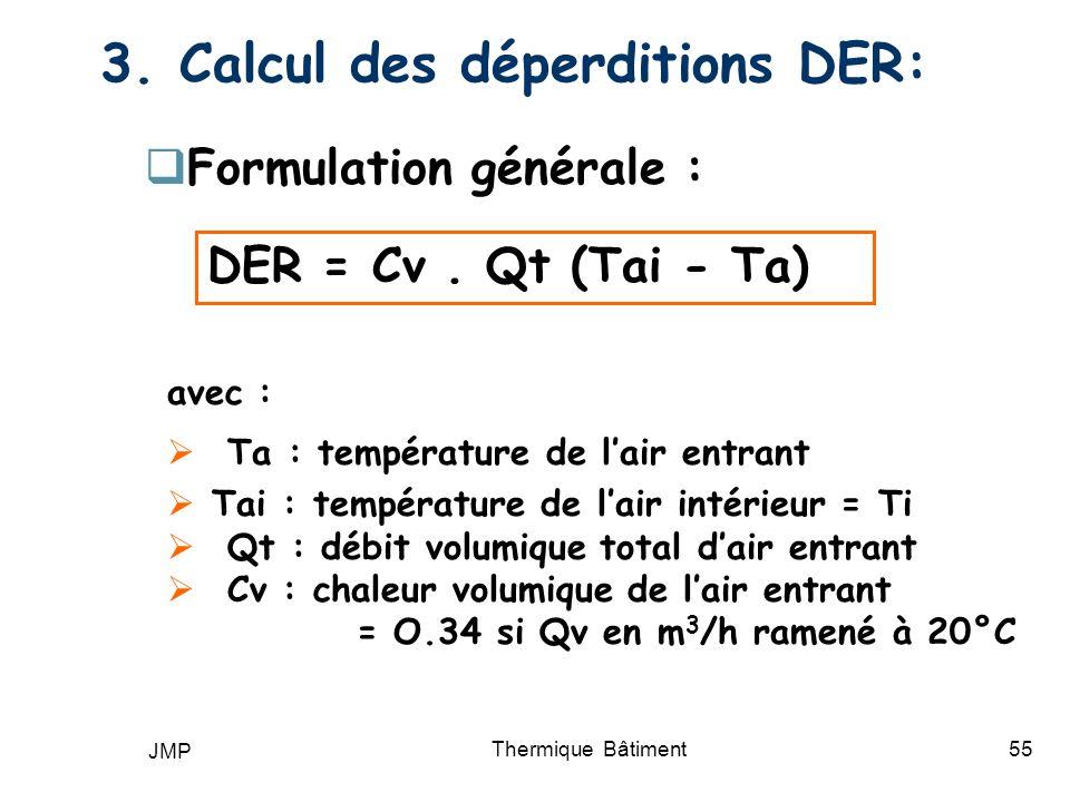 JMP Thermique Bâtiment55 3. Calcul des déperditions DER: Formulation générale : DER = Cv. Qt (Tai - Ta) avec : Ta : température de lair entrant Tai :