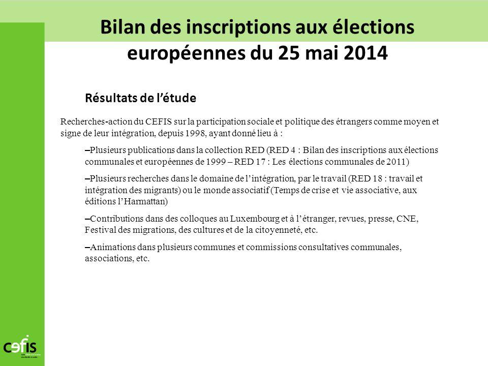 Bilan des inscriptions aux élections européennes du 25 mai 2014 Résultats de létude Recherches-action du CEFIS sur la participation sociale et politiq