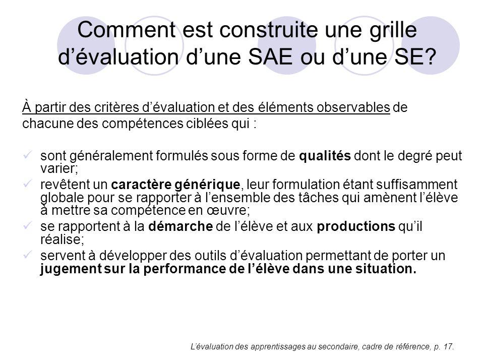 Comment est construite une grille dévaluation dune SAE ou dune SE? À partir des critères dévaluation et des éléments observables de chacune des compét