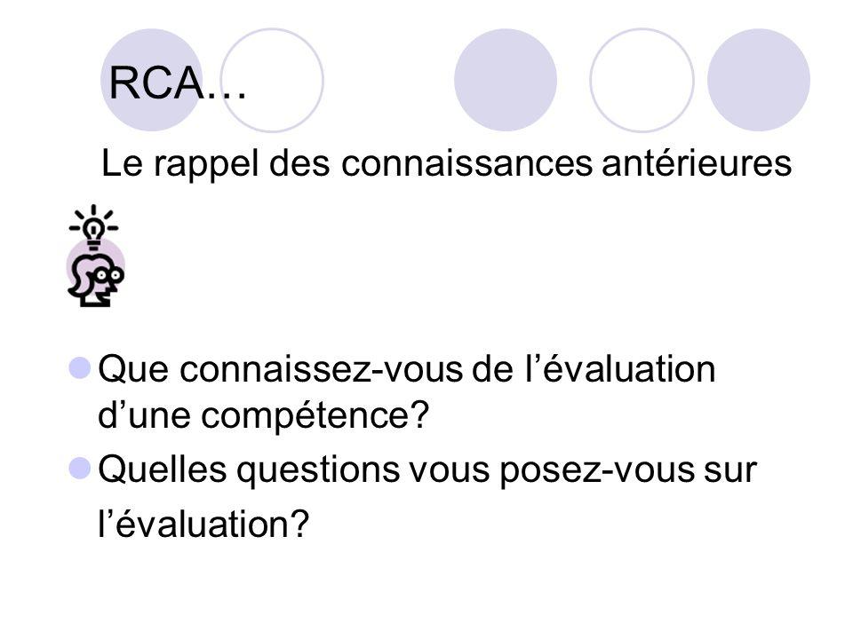 RCA… Que connaissez-vous de lévaluation dune compétence? Quelles questions vous posez-vous sur lévaluation? Le rappel des connaissances antérieures