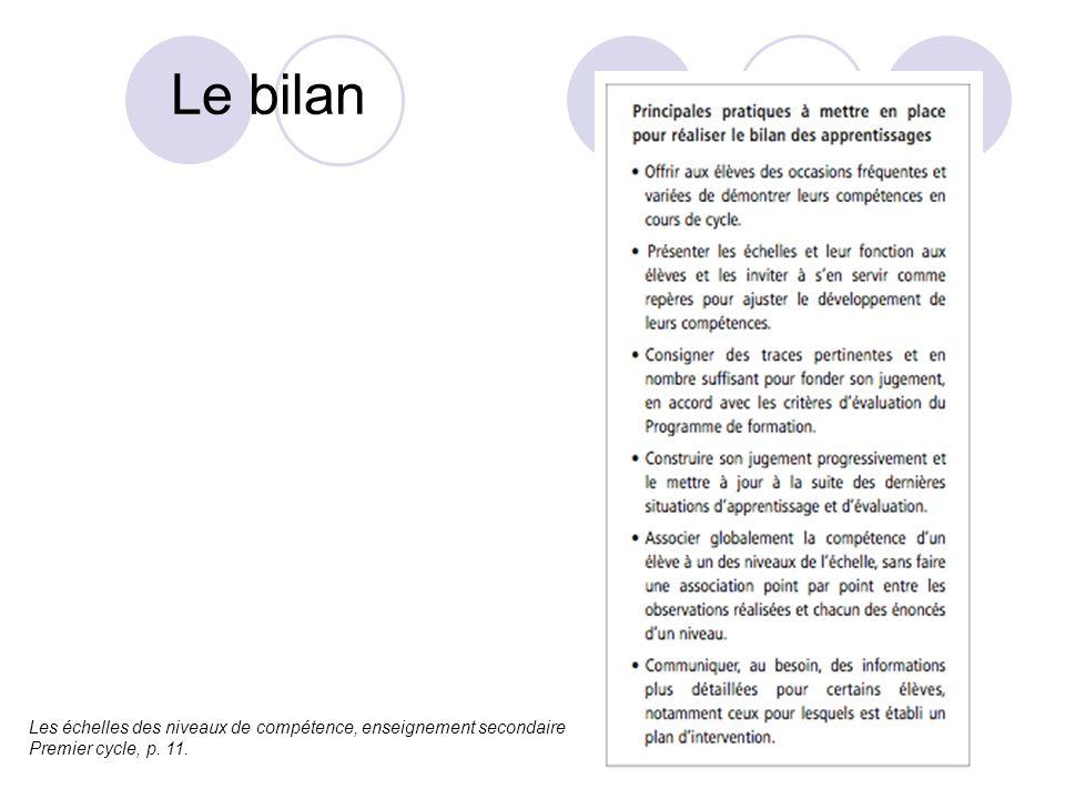 Le bilan Les échelles des niveaux de compétence, enseignement secondaire Premier cycle, p. 11.