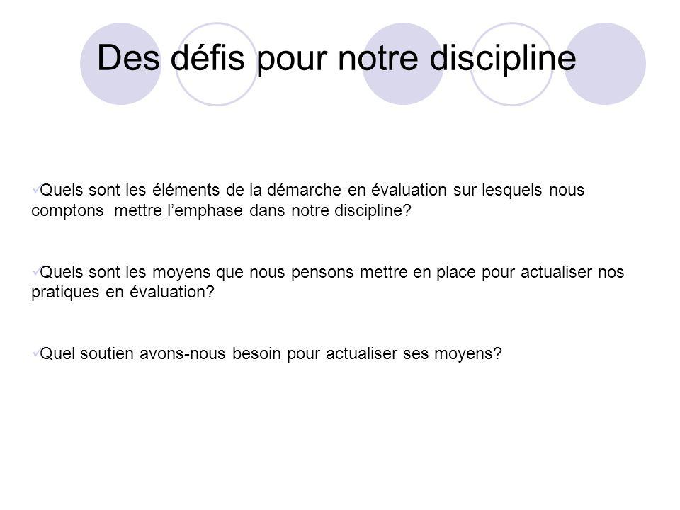 Des défis pour notre discipline Quels sont les éléments de la démarche en évaluation sur lesquels nous comptons mettre lemphase dans notre discipline?