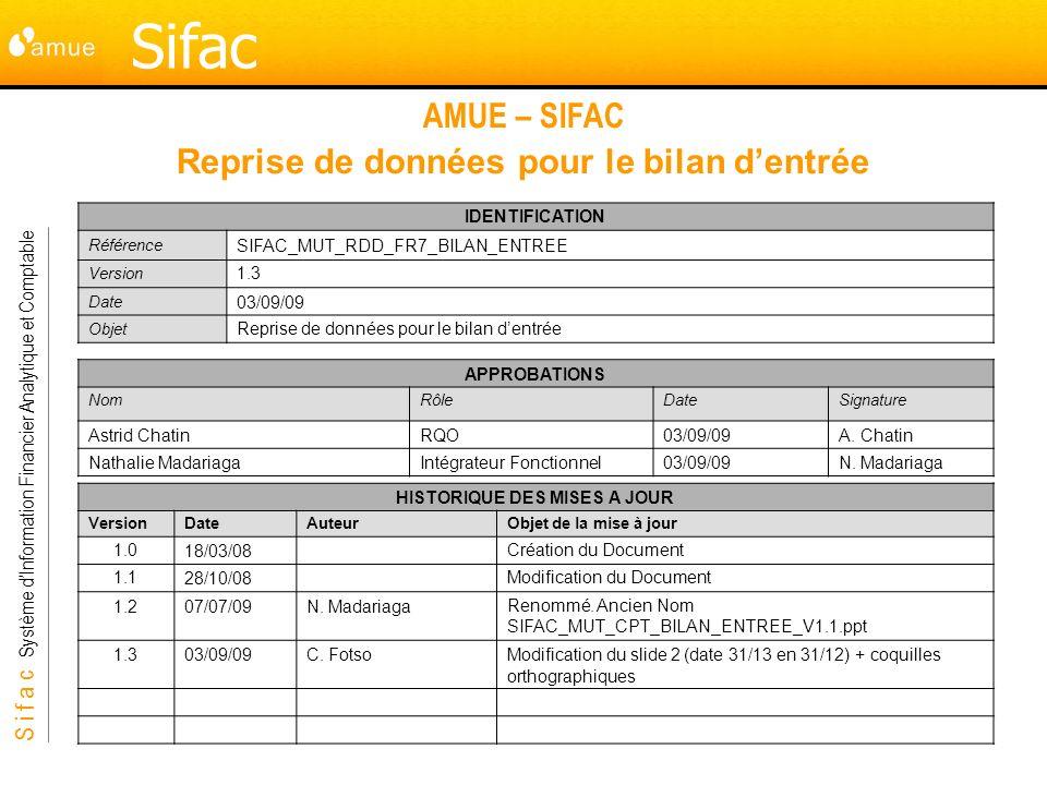 S i f a c Système dInformation Financier Analytique et Comptable Sifac AMUE – SIFAC Reprise de données pour le bilan dentrée HISTORIQUE DES MISES A JOUR VersionDate AuteurObjet de la mise à jour 1.018/03/08 Création du Document 1.128/10/08Modification du Document 1.207/07/09N.