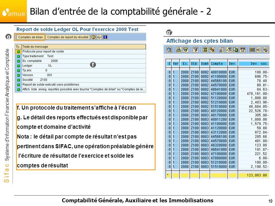 S i f a c Système dInformation Financier Analytique et Comptable Comptabilité Générale, Auxiliaire et les Immobilisations 10 Bilan dentrée de la comptabilité générale - 2 f.