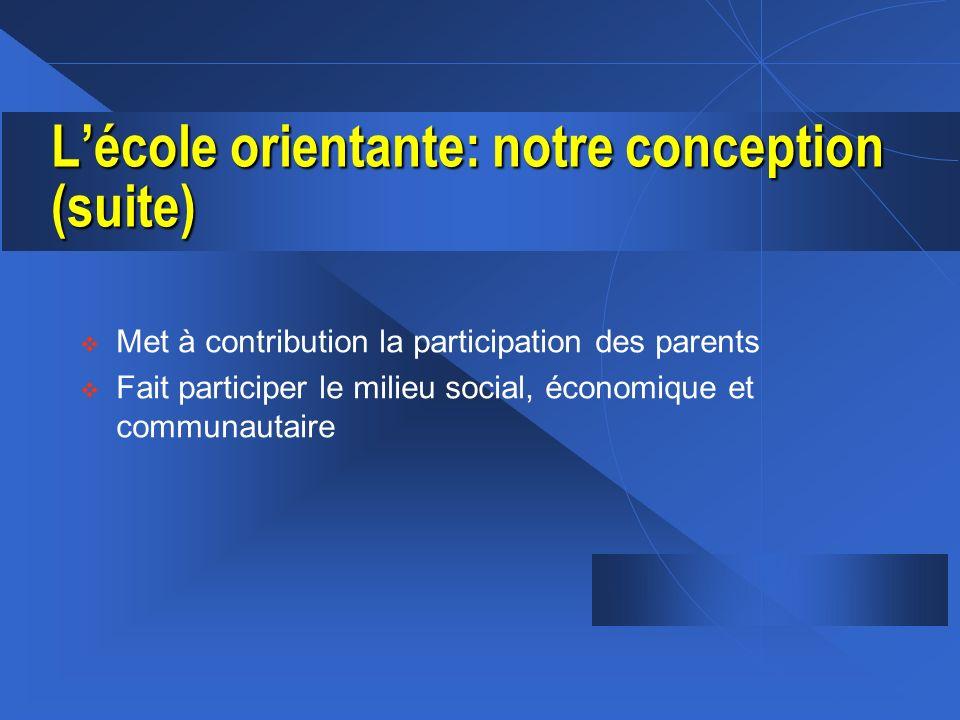 Lécole orientante: notre conception (suite) v Met à contribution la participation des parents v Fait participer le milieu social, économique et commun
