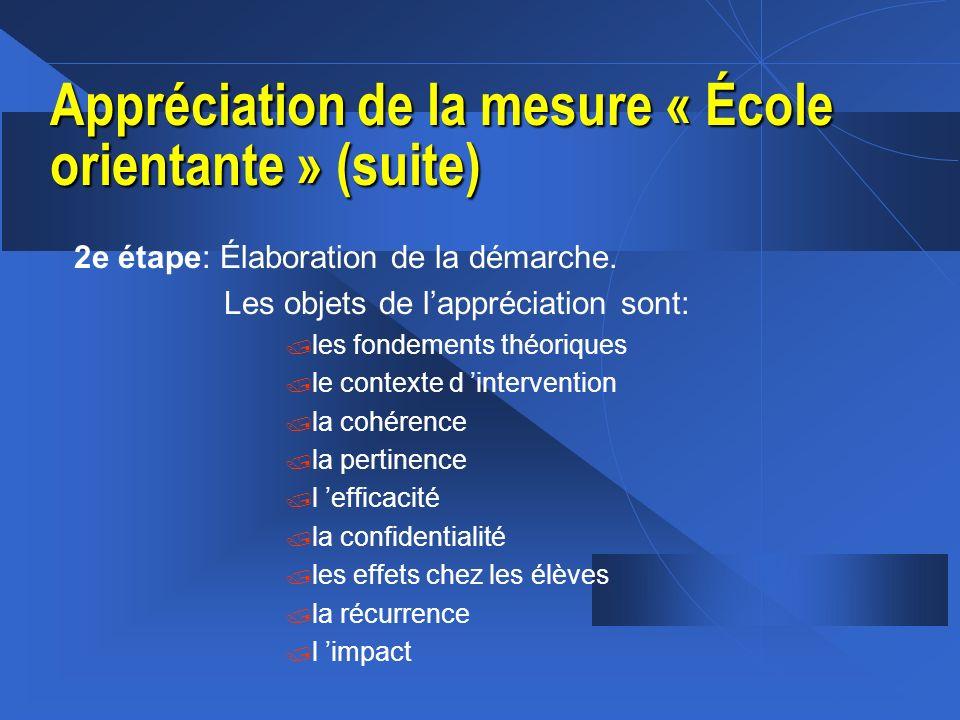 Appréciation de la mesure « École orientante » (suite) 2e étape: Élaboration de la démarche. Les objets de lappréciation sont: / les fondements théori