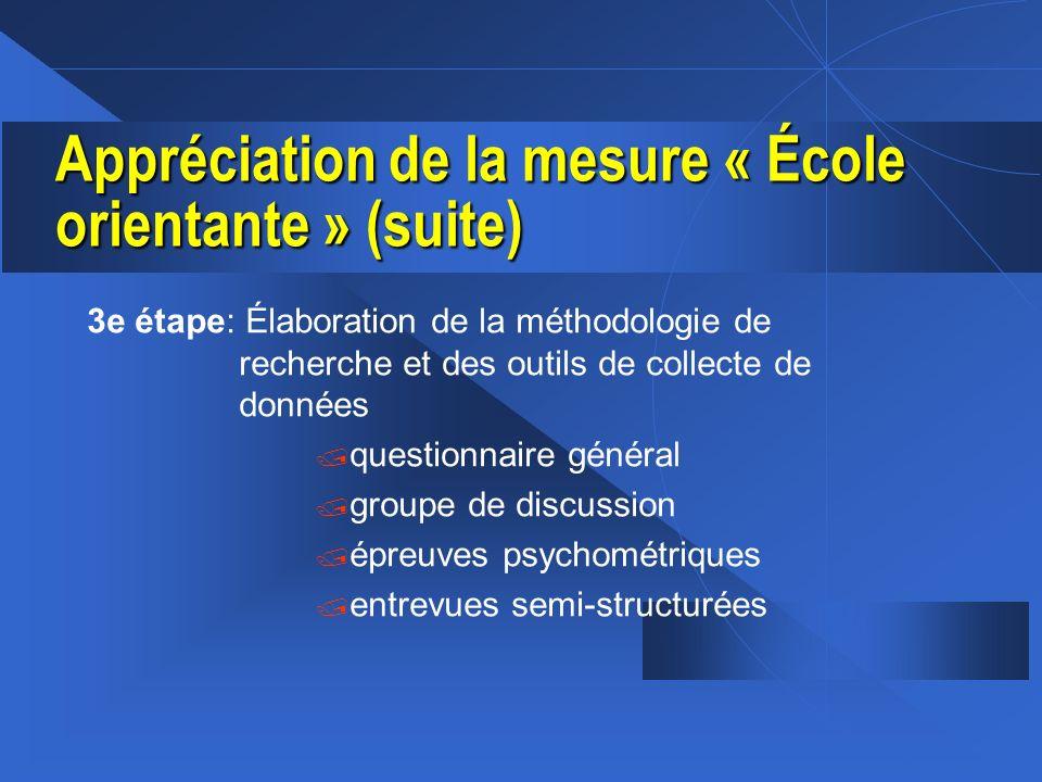 Appréciation de la mesure « École orientante » (suite) 3e étape: Élaboration de la méthodologie de recherche et des outils de collecte de données / qu