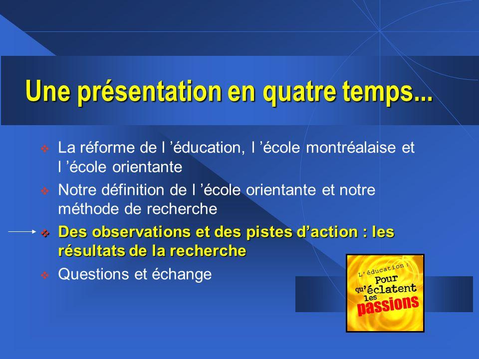 La réforme de l éducation, l école montréalaise et l école orientante Notre définition de l école orientante et notre méthode de recherche Des observa