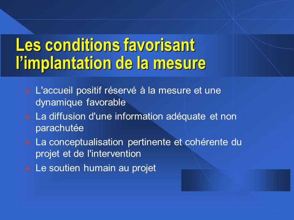 Les conditions favorisant limplantation de la mesure v L'accueil positif réservé à la mesure et une dynamique favorable v La diffusion d'une informati
