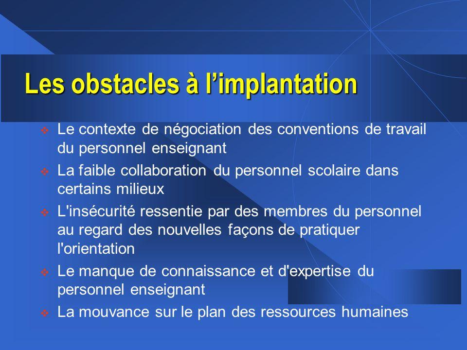 Les obstacles à limplantation v Le contexte de négociation des conventions de travail du personnel enseignant v La faible collaboration du personnel s