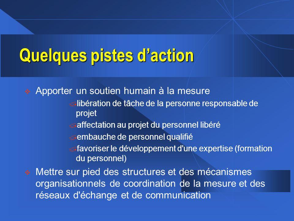 Quelques pistes daction v Apporter un soutien humain à la mesure / libération de tâche de la personne responsable de projet / affectation au projet du